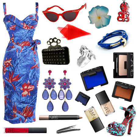 deadly_dames_malibu_tiki_dress_blue_and_red